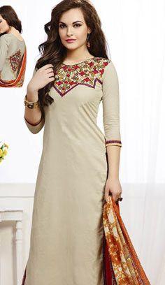 Latest Traditional Fawn Chanderi Cotton Pakistani Suit