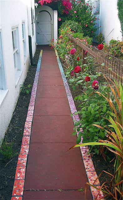 mosaic edged path. Bricks with mosaic edges!