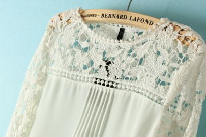 White Long Sleeve Hollow Contrast Lace Chiffon Blouse 15