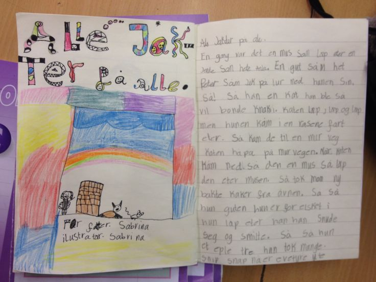 """PY 2&3 Uke 13: Vi arbeider med å lage forsider til historiene våre. Elevene lærer seg """"bokord"""" som tittel, forfatter, illustratør og forlag. Flotte blir de:)!"""