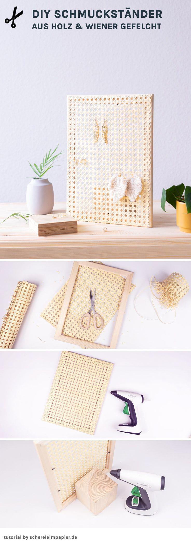 5 Minuten DIY: Schmuckständer aus Holz und Geflecht selbermachen