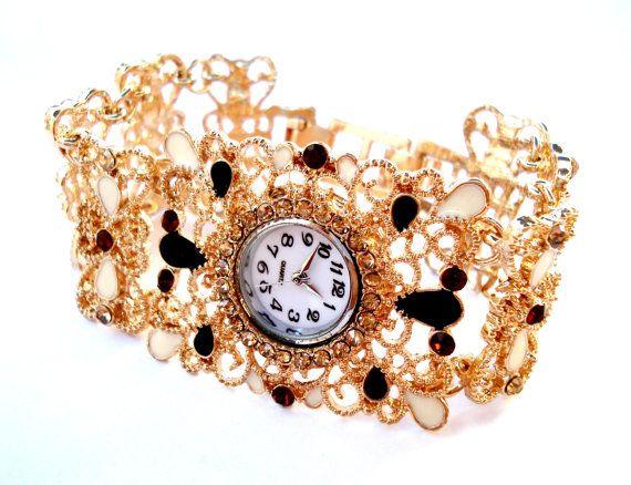 Elegante Reloj Dama Micronado en Oro y Piedras por shopvintage1