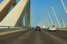 Abu Dhabi UAE - The new Sheikh Zayed Bridge stock photo