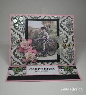 Lenas kort: Rosa sommer staffeli kort m/blomster