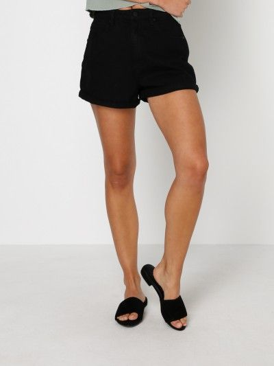 A High Relaxed Shorts in Black Denim