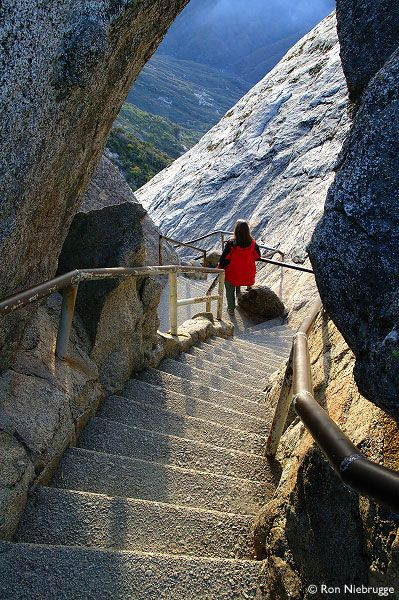 Moro Rock, Sequoia National Park.  There's about 300 steps to get to the top, but it's worth it!! There's an awesome view at the top!!!