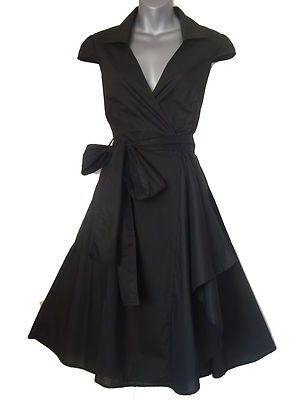 BLACK 1950'S STYLE ROCKABILLY SWING PINUP WRAP EVENING PARTY DRESS SIZES 8 - 20 | eBay