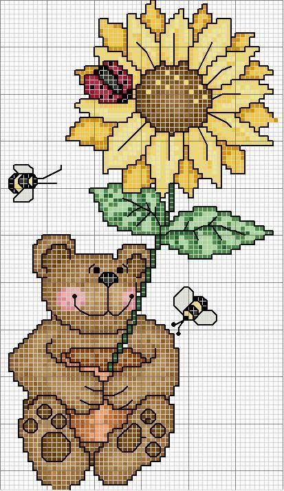 Hobby lavori femminili - ricamo - uncinetto - maglia: Schema orsetto con le Api e un grande Girasole a p...