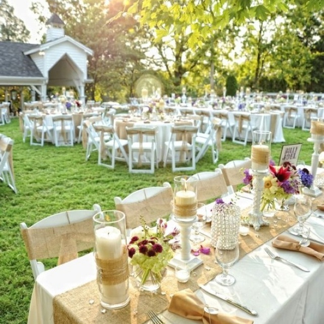 Burlap and lace outdoor table setting