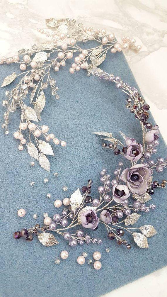 Violet Silver Bridal hair piece Purple Bridal headpiece