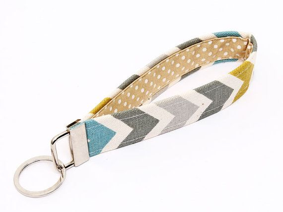 Fabric Key fob, fabric keychain wristlet, keyring, key lanyard - blue, grey, citrine, natural chevron with beige and white polka dot