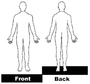 Ridiculous image within printable outline of human body front and back