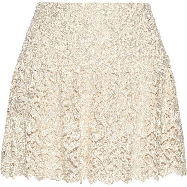 Alice + Olivia Jayce guipure lace mini skirt ($445) ❤ liked on Polyvore featuring skirts, mini skirts, bottoms, saias, ivory, short pink skirt, mini skirt, pink skirt, drop waist skirt and short mini skirts