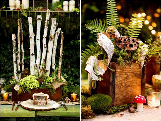 woodsy wedding decorations