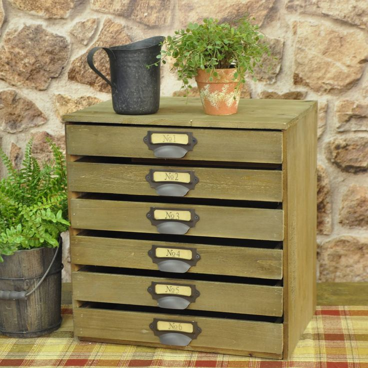 """Wooden 6 Drawer Cabinet 15.25""""H x 14.5""""W x 10""""D Easy and ..."""