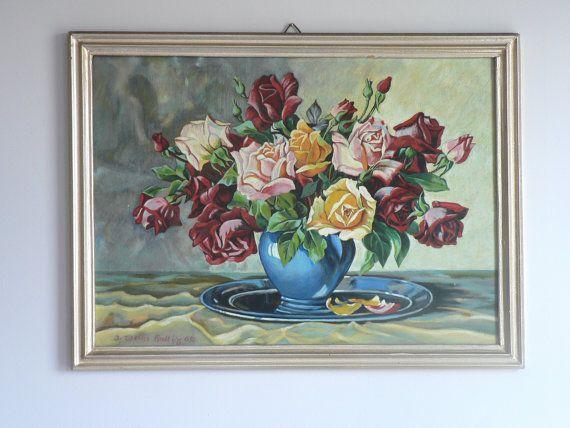 Original Roses Still-Life Oil Painting  Multi-Colored Roses