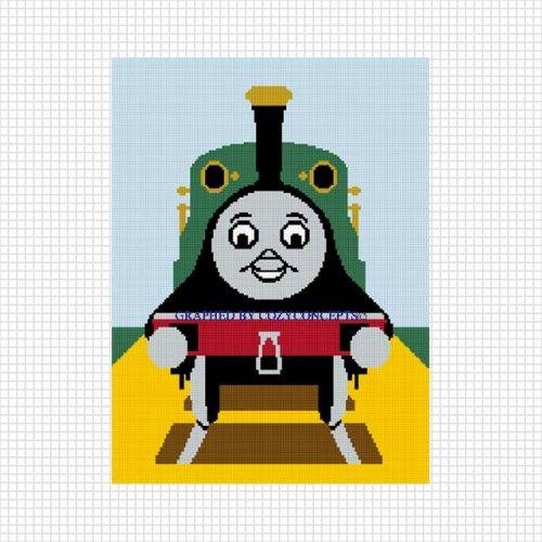 EMILY THOMAS FRIEND TANK TRAIN CROCHET PATTERN GRAPH AFGHAN .PDF