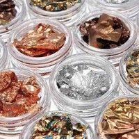 Wish   12 Pot Nail Art Gold Silver Paillette Flake Chip Foil Acrylic Gel Paper Decor