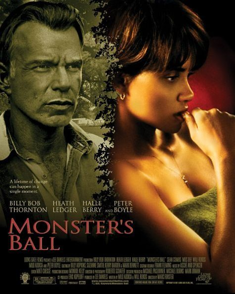 "Monster's Ball ~ ""After a family tragedy, a racist prison guard reexamines his attitudes while falling in love with the African American wife of the last prisoner he executed."": Monsters Ball, Film, African American, Favorite Movies, Movie Poster, Halle Berry, Ball 2001"