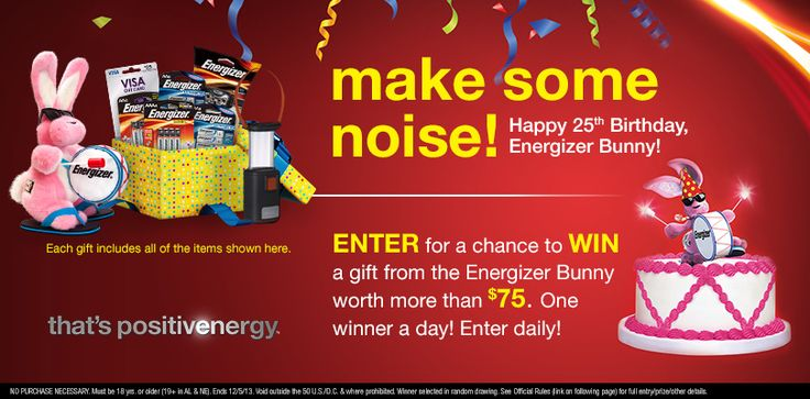 I just entered to win a gift from the Energizer Bunny worth more than $75. Happy 25th Birthday, Energizer Bunny!