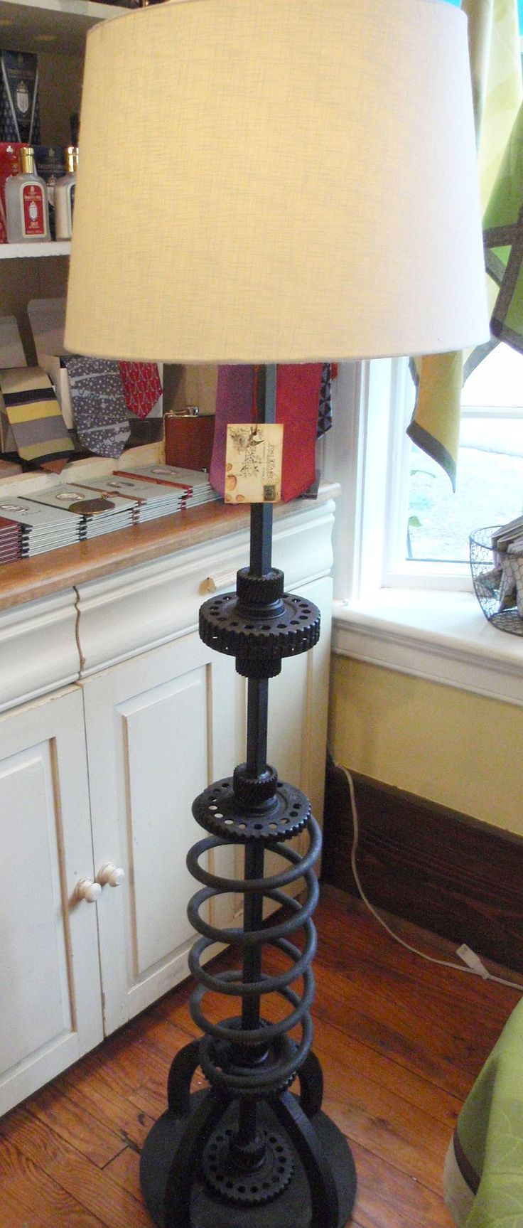 Vintage Iron Coil and Gears Lamp made in USA, at r.h. ballard shop. #industrial #vintagelamp