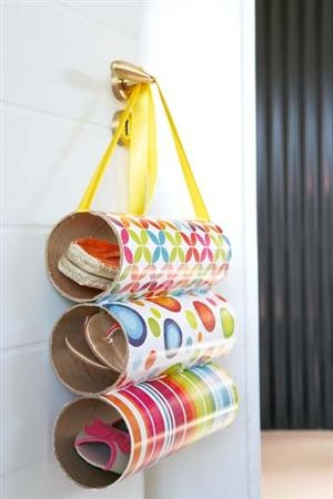 Not for shoes, but will use empty Pringles cans for something like this.
