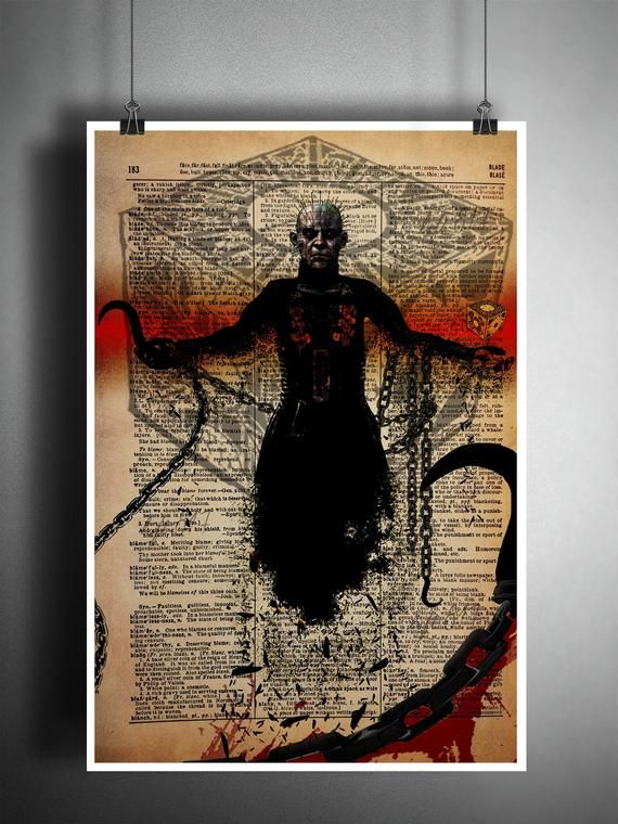 Movie ART PRINT Pinhead Inspired illustration Horror Wall Art Hellraiser