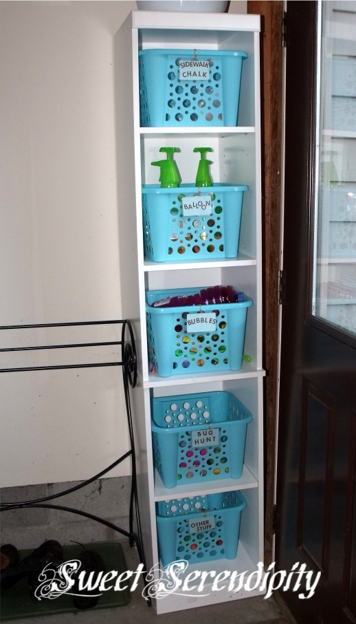 Garage storage for outside toys - $1 store bins to store car maintenance & cleaning supplies in