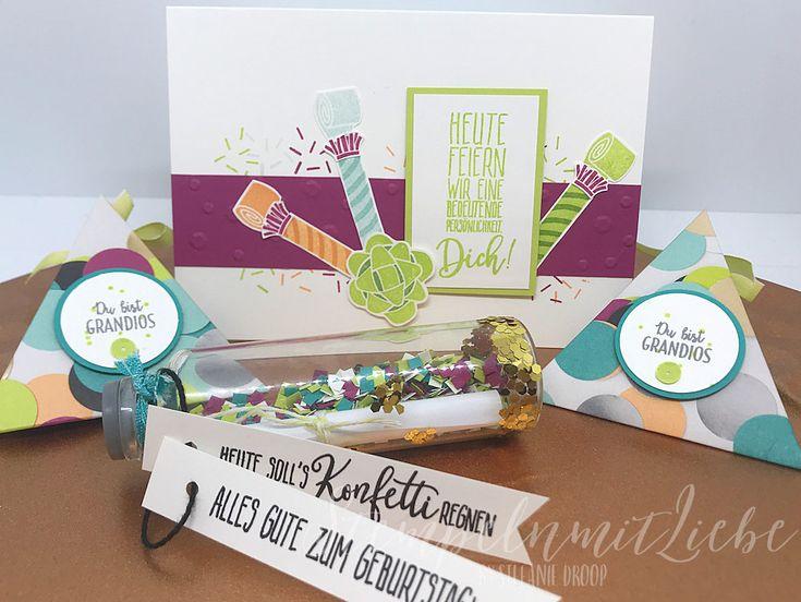 Stampin Up - Verpackung - Karte - Konfetti - Party - Geburtstag - Birthday - Geburtstagskarte - Stempelset Perfekter Geburtstag - Designpapier Perfekte Party♥ StempelnmitLiebe