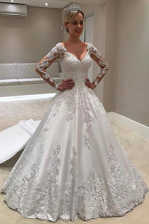 Elegant Long Sleeves Sweetheart Ball Gown Lace Wedding Dress W529 Weddingdress Ballgown Making A Wedding Dress Applique Wedding Dress Long Sleeve Ball Gowns,Sky Blue Dresses For A Wedding