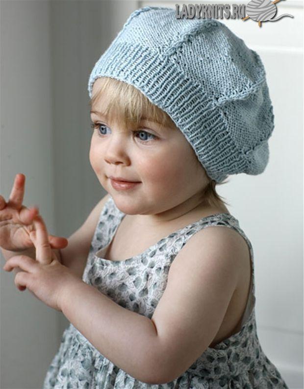 Вязаный спицами берет с косами для девочки от роджения до 2 лет