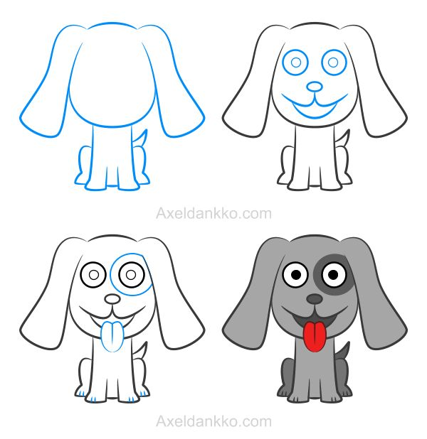 How to draw a puppy - Comment dessiner un chiot
