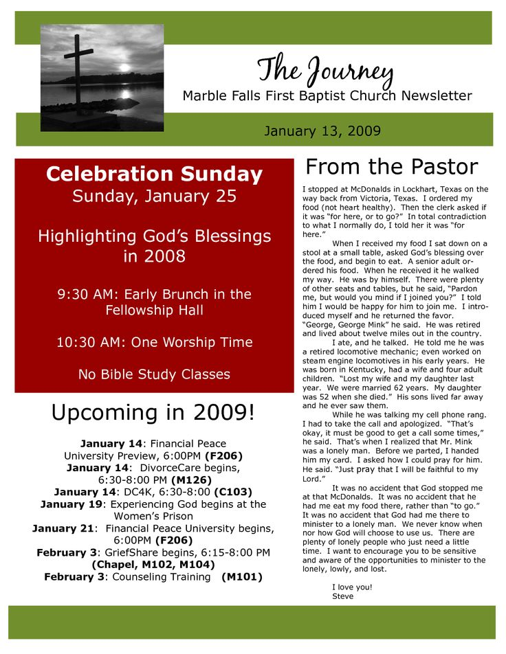 church newsletter sampels  Marble Falls First Baptist Church Newsletter January The Journey