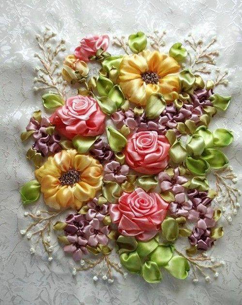Ribbon Work... Lovely Flowers