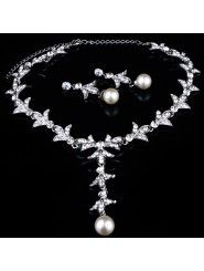 Fashion Wedding Jewelry Set - Rhinestones and Pearls Necklace,Earrings