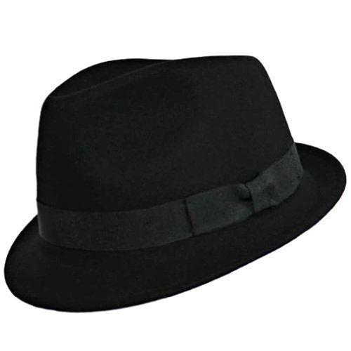 Luxury Divas Black Classic Structured Wool Fedora Hat