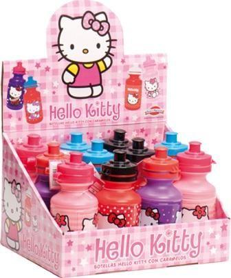 Botella de plastico Hello Kitty + caramelos 2,44