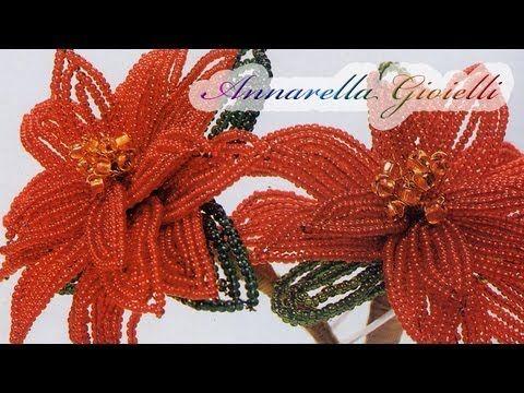 Stella di Natale con perline | Tutorial gratis su Youtube Poinsettia with beads | Free tutorial on Youtube