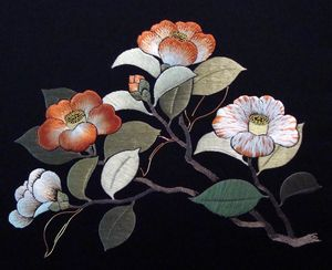 Camellias , 2011 silk and metallic threads on black nishijin, design: 8 x 11 in.