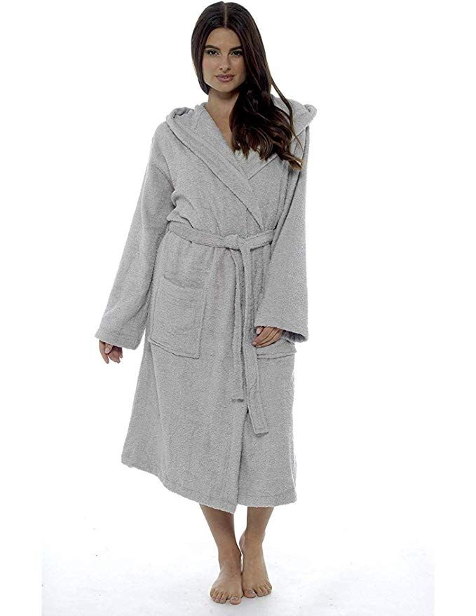 Ladies Robe Luxury Terry Towelling Cotton Dressing Gown Bathrobe Highly  Absorbent Women Hooded and Shawl Towel 66587d38a5