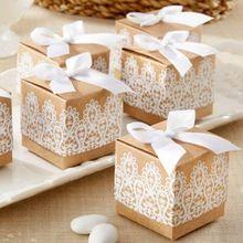 Creatieve geschenkdoos Rustieke & Lace Kraftpapier Dozen Candy Box Met Lint En Decoratie Gunst Doos(China (Mainland))