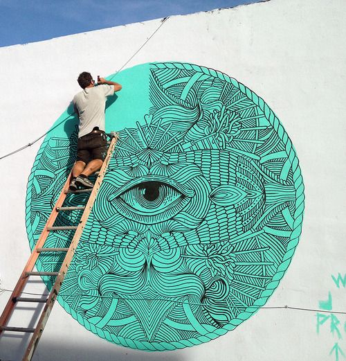 "Mural Painting ""The Eye of Wynwood"" in Wynwood, Art Basel 2013, MIami."