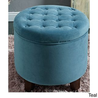 @Overstock - Large Round Button-tufted Storage Ottoman - Decorative button tufting on the lid, this large round ottoman features a lift-off lid with piping trim on the base. This multi-functional item works in many rooms, and allows you to group two together for a decorative statement.  http://www.overstock.com/Home-Garden/Large-Round-Button-tufted-Storage-Ottoman/8353566/product.html?CID=214117 $106.99
