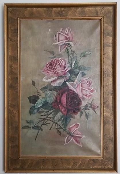 """Large Beautiful Victorian c1900 Antique Roses Oil Painting 18 x 27"""""""