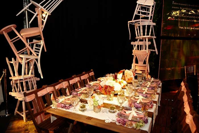 Led by Isabel and Ruben Toledo, New York University students put together a table with a shabby-chic theme.   Photo: Ronnie Andren