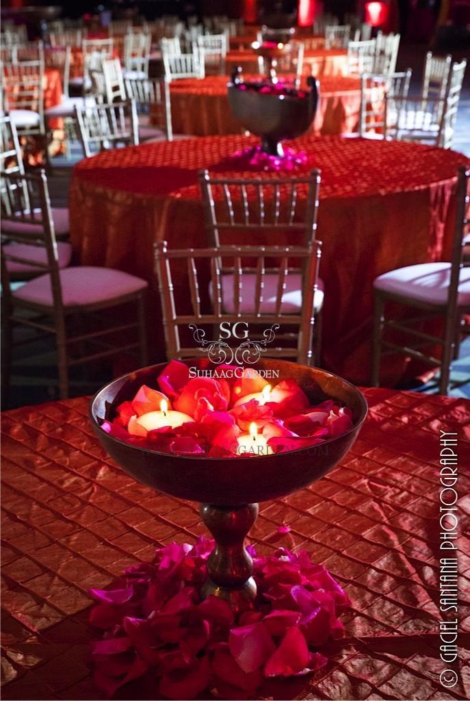Suhaag Garden, Florida wedding decor and design vendor, Garba, table seating, Urli centerpiece