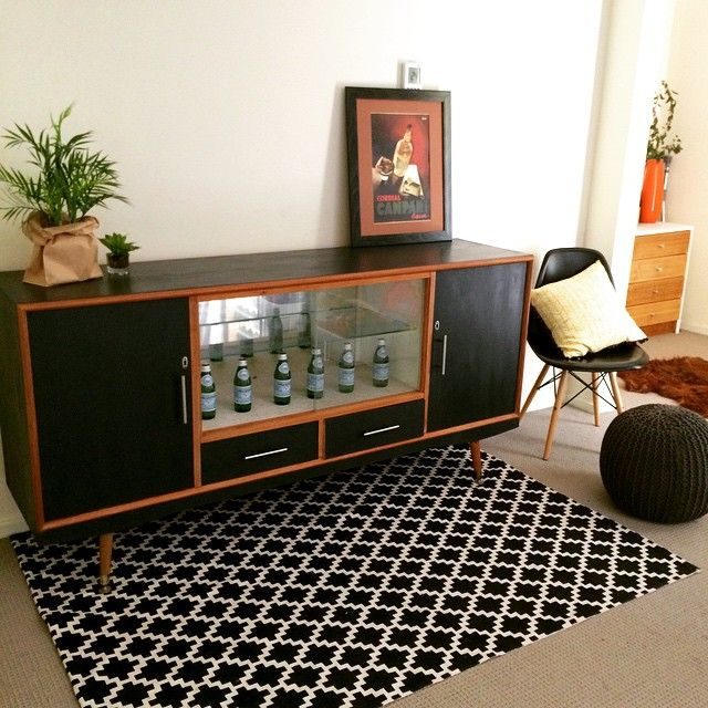 Latest piece photographed today. A striking retro sideboard, updated with a lick of near-black paint. Yum!