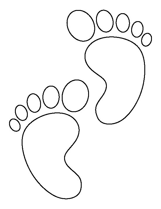 Baby feet pattern use the printable outline for crafts for Footprint cut out template