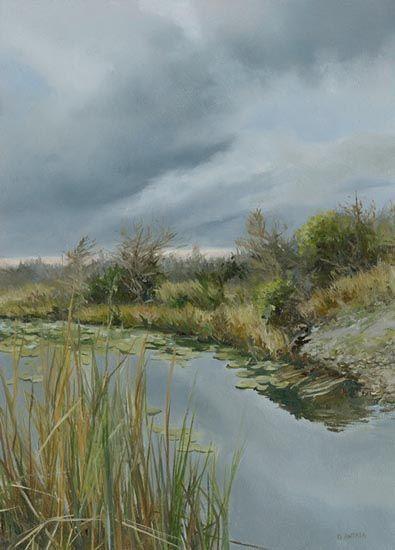 "Denise Antaya - Storm Brewing Oil on prepared birch panel  7.25"" x 10"""