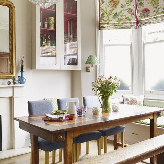 Neutral Dining Room With Traditional Dining Set And Floral Blind